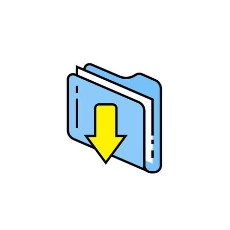 Download file line icon. Recieve data folder sign. Computer document with down arrow symbol. Vector illustration. Illustration
