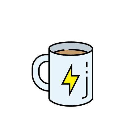 Caffeine line icon. Coffee mug symbol. Fresh start hot energy drink sign. Vector illustration.