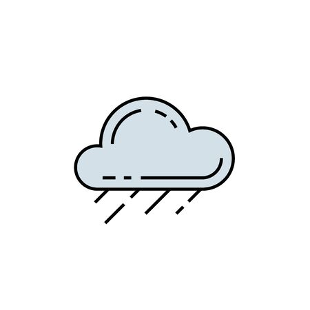Rain cloud line icon. Wet weather symbol. Raining sign. Vector illustration.