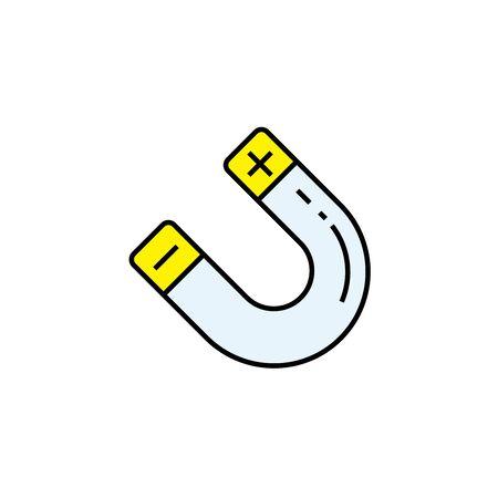 Magnet line icon. Magnetic symbol. Magnetism sign. Vector illustration. Illustration