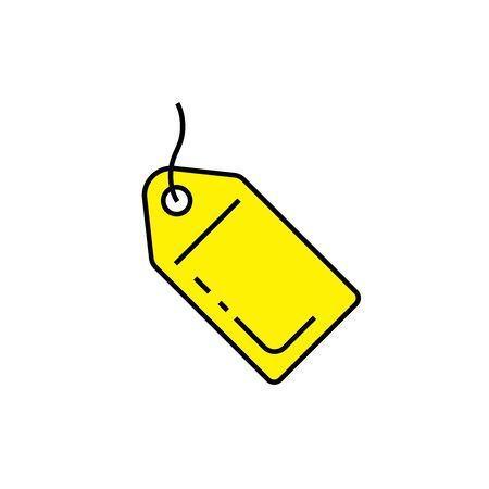 Yellow tag icon. Label symbol. Meta tag sign. Vector illustration.