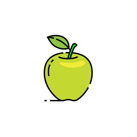 Green apple line icon. Granny Smith fruit symbol. Natural food sign. Vector illustration.
