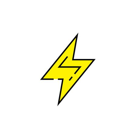Electric bolt line icon. Electricity symbol. Yellow electrical charge sign. Vector illustration.