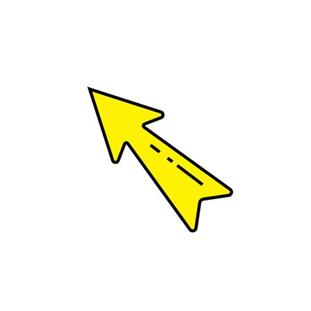 Arrow line icon. Yellow direction symbol. Pointer sign. Vector illustration.