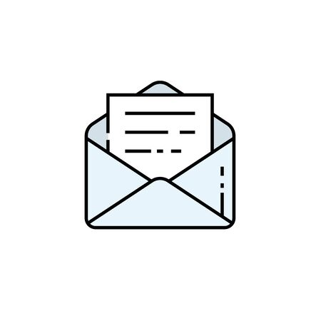 Open email line icon. Mail letter symbol. Post message sign. Vector illustration.