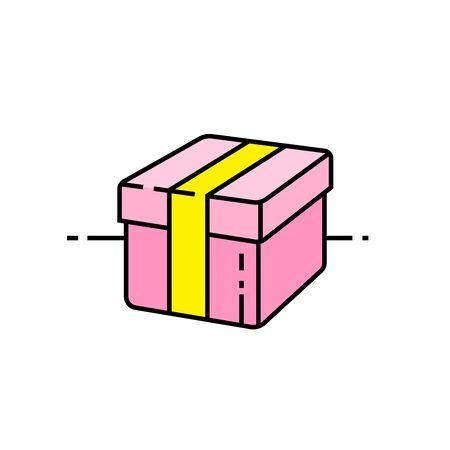 Gift box line icon. Parcel symbol. Pink present sign. Vector illustration.