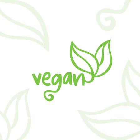 Vegan food icon. Vegetarian  label. Vector illustration. Illustration