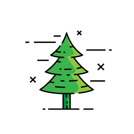 Pine tree line icon. Conifer symbol. Evergreen cedar sign. Vector illustration.