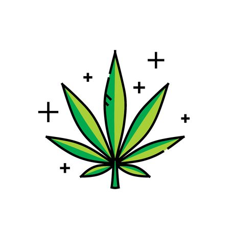 Cannabis leaf line icon. Marijuana symbol. Hemp plant sign. Vector illustration.