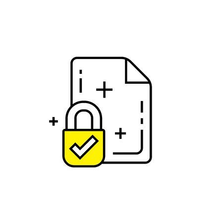 Secure file line icon. Secured document lock symbol. Paper page padlock sign. Vector illustration.