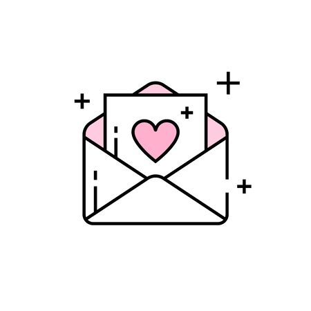 Love note line icon. Email heart symbol. Valentine envelope sign. Vector illustration.
