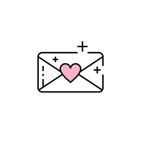 Love mail line icon. Email heart symbol. Valentine envelope sign. Vector illustration. 일러스트