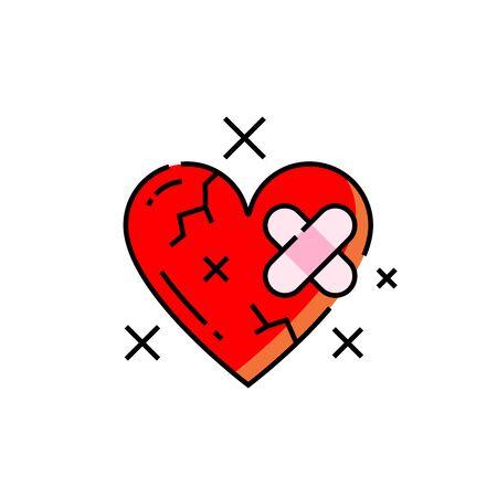 Broken heart icon. Heartbreak symbol. Love hurt bandage sign. Vector illustration line icon.
