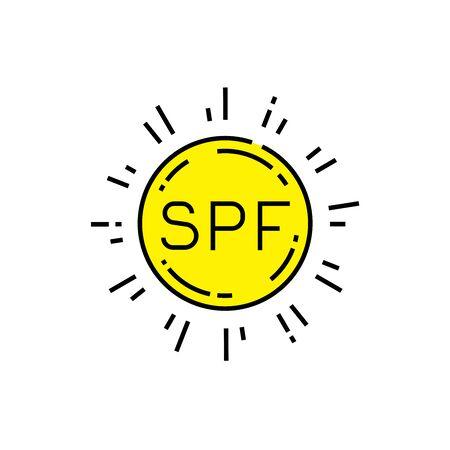 SPF sun protection icon. Sunlight skin care symbol. Solar radiation sunburn sign. Vector illustration line icon.
