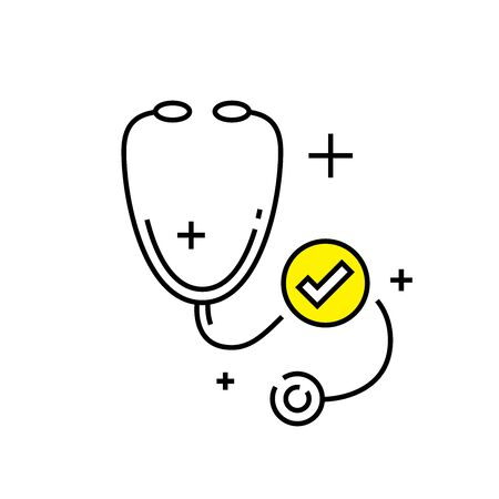 Stethoscope line icon. Doctor sign. Cardiology symbol. Medical tool graphic. Vector illustration.
