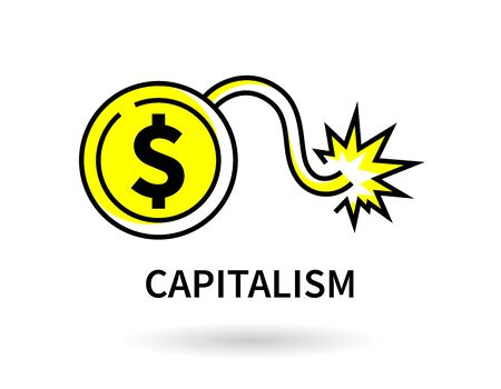US Dollar coin bomb line icon. American capitalism financial crisis graphic. Economic bomb vector illustration.  イラスト・ベクター素材