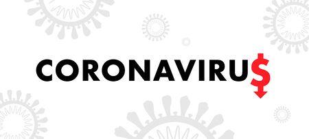 Coronavirus American Dollar Sign. Covid-19 global economic collapse banner. Vector illustration. Ilustrace