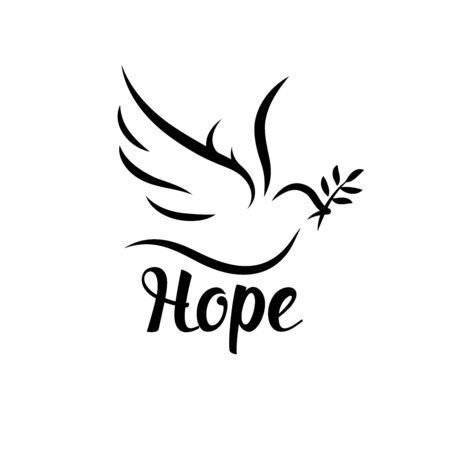 Hope icon with dove and olive leaf. Peace symbol. Vector illustration. Vettoriali