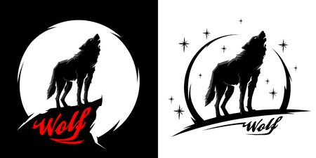 Black alpha male lone wolf with full moon silhouette. Wild animal at night graphic design illustration. Line art style wolves vector set.