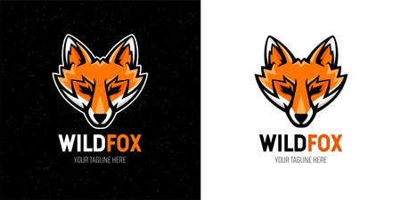 Wild fox  template design. Animal head mascot symbol. Vector illustration.