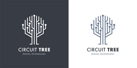 Circuit tree tech   template design. Innovative digital technology concept business icon. Vector illustration. 矢量图像
