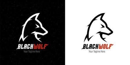 Black wolf template design. Abstract dangerous dog head symbol. Vector illustration. Vetores