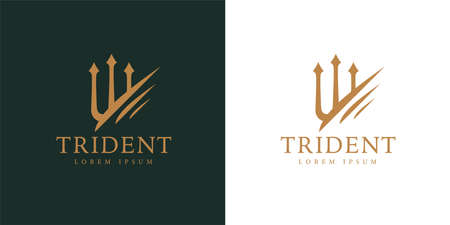 Gold trident logo icon. Premium corporate company brand identity emblem. Abstract forked spear sign. Devils pitchfork symbol. Vector illustration. Stock Illustratie