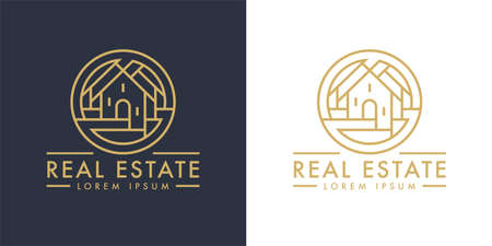 Real estate home logo line icon. Modern luxury villa house sign. Gold residential property development symbol. Concept realty agency housing company emblem. Vector illustration. Illustration