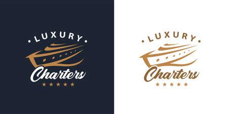 Luxury yacht charters logo concept. Premium leisure boat marine vacation icon. Gold passenger cruise ship travel symbol. Vector illustration.