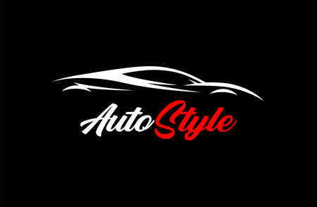 Automotive style sports car  design with auto concept supercar vehicle silhouette. Vector illustration.