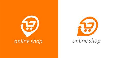 Online shopping cart icon. Shop trolley delivery logo. E-store symbol. E-commerce sign. Vector illustration. Illustration