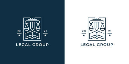 Law firm . Legal group sign. Concept weight scales, book and pillar sword line icon. Lawyer attorney symbol. Vector illustration.