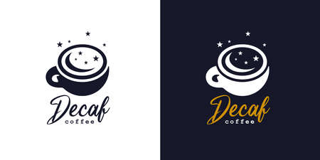 Premium decaf coffee cup . Decaffeinated espresso icon. Cafe moon and stars late night Latte hot drink sign. Vector illustration.