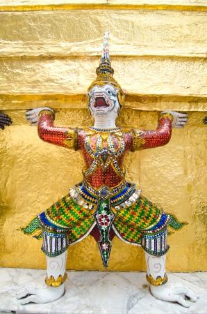 Guardian on pagoda in Royal Thai temple Wat Prakaew Stock Photo