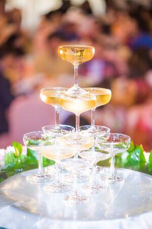 glasses of wine in wedding ceremony photo