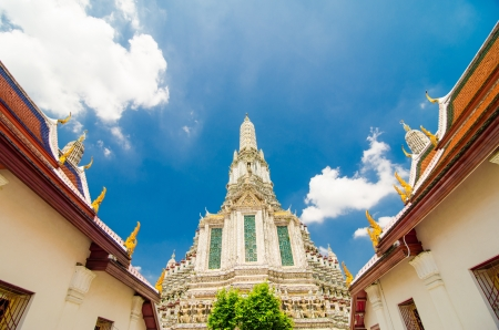 The Temple of Dawn Wat Arun and a beautiful blue sky in Bangkok, Thailand