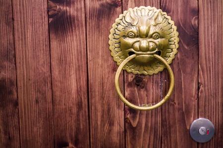 chinese-style old bronze door wooden
