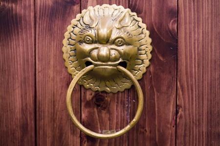 chinese-style old bronze door
