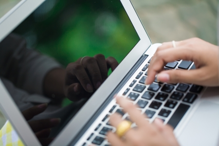 typing on laptop, women finger