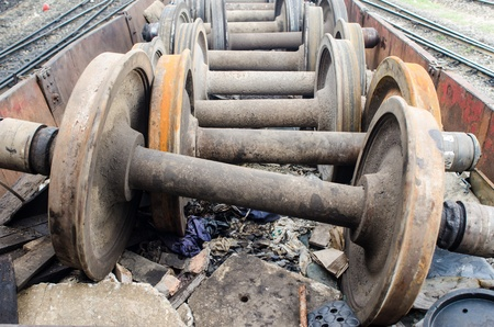 spare parts: Spare parts old wheel  of train on a track, industrial Stock Photo