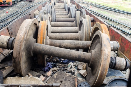 spare parts: Spare parts wheel  of old train on a track, industrial Stock Photo