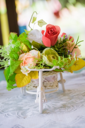 roses on the table pick up by bicycle, wedding