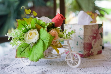 Still life with autumn flowers and rose on table, love photo