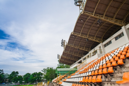 sequential: Stadium and seat with blue sky on roof