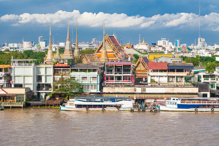 king palace: Landscape of Thais king palace with ship on blue sky, river