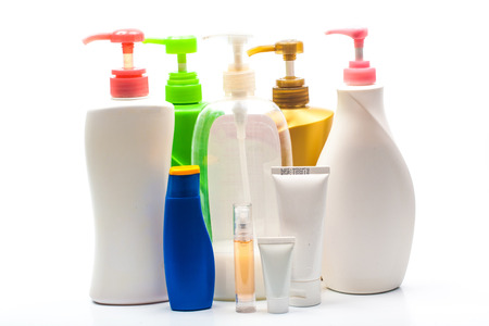 Colour bottles of health and beauty products  Stock Photo