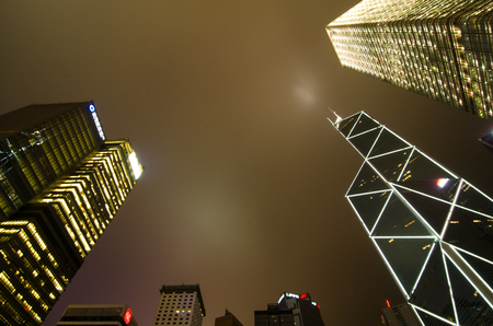 Hong Kong at night, view from below. Bank architecture
