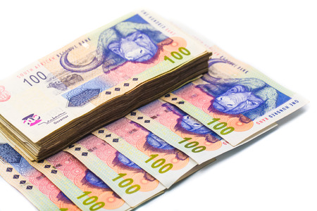 rand: New South African 100 Rand notes isolated on white background Stock Photo