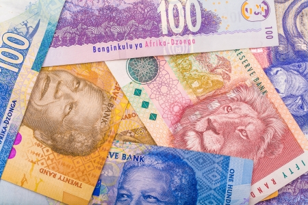 rand: Close up of South African currency the Rand isolated on white background