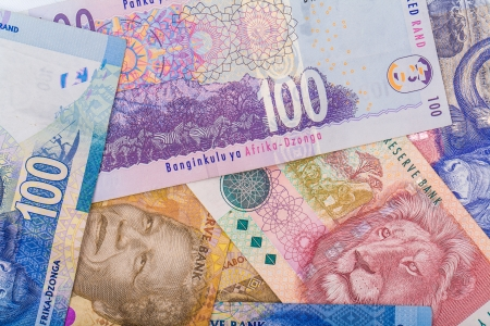 Close up of South African currency the Rand isolated on white background photo